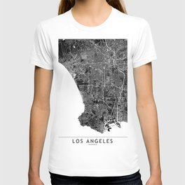 Los Angeles Black And White Map T-shirt