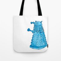 dalek Tote Bags featuring Dalek by Margret Stewart