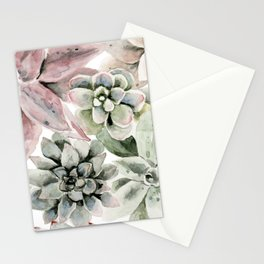Circular Succulent Watercolor Stationery Cards