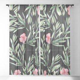 Delicate Hibiscus Black Sheer Curtain
