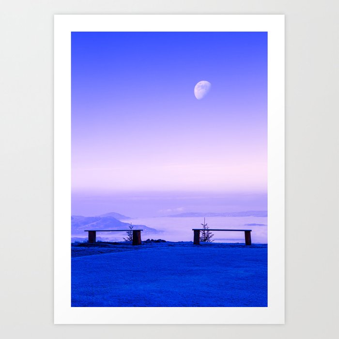 Above The Clouds, Under The Moon Art Print
