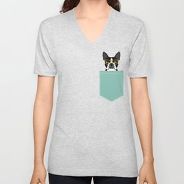 Darby - Boston Terrier pet design with hipster glasses in bold and modern colors for pet lovers Unisex V-Neck