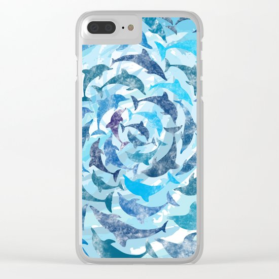Water color dolphins Clear iPhone Case