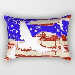 AMERICANA FLAG & WHITE EAGLES FROM  SOCIETY6 BY SHARLESART. Rectangular Pillow