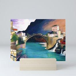 Mostar Old Town Panorama, Stari Most Bridge, Bosnia and Herzegovina by Tivadar Csontváry Kosztka Mini Art Print