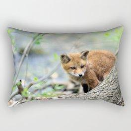 Fox cub exploring Rectangular Pillow