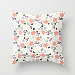 Muted Spring Floral Colors, Seamless Pattern, Fun Pattern, Spring Designs, Floral Design Throw Pillow