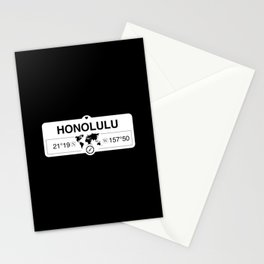 Honolulu Hawaii Map GPS Coordinates Artwork with Compass Stationery Cards