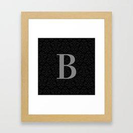 Modern Black Grey Damask Letter B Monogram Framed Art Print