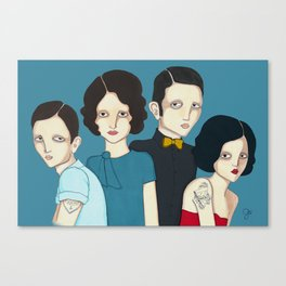 Family picture blues Canvas Print