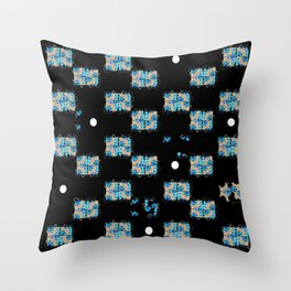 Blue flowers in the dark Throw Pillow