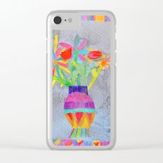 Flower Vase   Kids Painting   3D Collage Clear iPhone Case