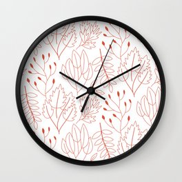 Outline Plants Pattern Wall Clock