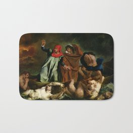 """Eugène Delacroix """"Dante and Virgil in Hell, also known as The Barque of Dante"""" Bath Mat"""