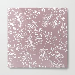 Modern mauve pink white hand painted floral Metal Print