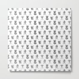 Dia De Los Muertos Black and White Pattern Metal Print