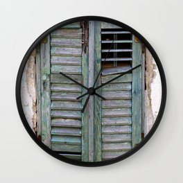 Closed Window Shutters in South Europe Wall Clock