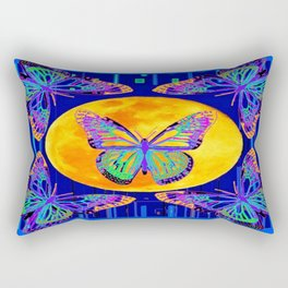 Contemporary Blue Moon Lace Butterflies Fantasy Abstract Rectangular Pillow