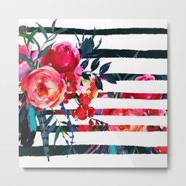 Bohemian pink orange blue black watercolor stripes floral Metal Print