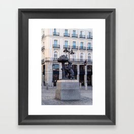 Bear and the Strawberry Tree in Puerta del Sol square, Madrid Framed Art Print