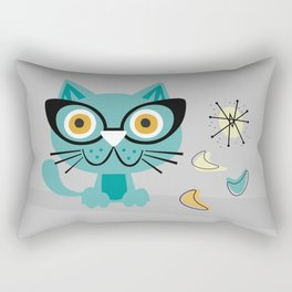 1950s Atomic Age Mid Century Modern Kitty Cat Rectangular Pillow