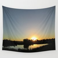 farm Wall Tapestries featuring Farm Sunset by I AmErika