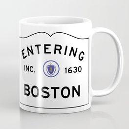 Entering Boston - Commonwealth of Massachusetts Road Sign Coffee Mug