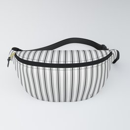 Mattress Ticking Narrow Striped Pattern in Dark Black and White Fanny Pack