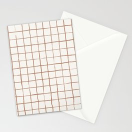Imperfect Grid in Ivory and Clay Stationery Cards