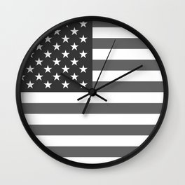 American flag in Gray scale Wall Clock