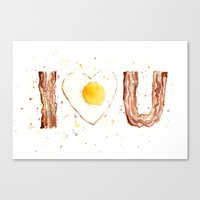 bacon Canvas Prints featuring Bacon by Olechka