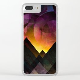Whimsical mountain nights Clear iPhone Case
