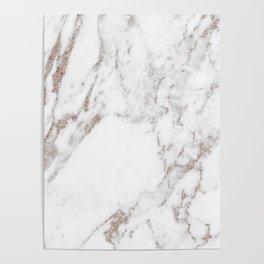 Rose gold shimmer vein marble Poster