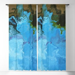 Vibrant Marble Texture no5 - Sky Blue Blackout Curtain