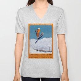 1927 Chamonix - Mont Blanc France Ski Championship Poster Unisex V-Neck