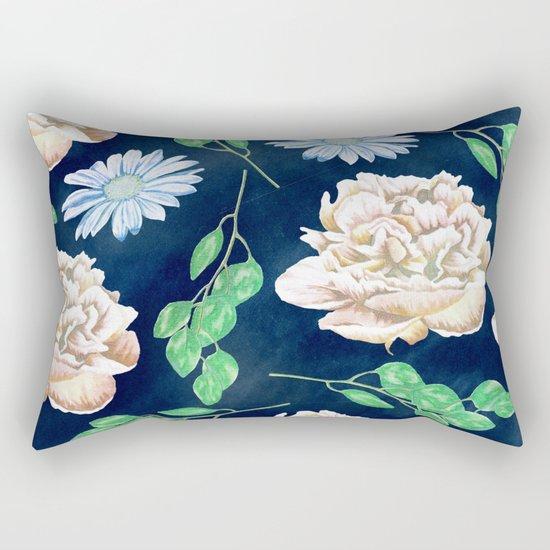 Rose Garden Navy Blue Antique Floral Pattern Rectangular Pillow