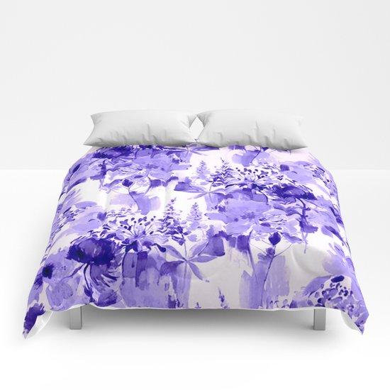 floral Delft blue Comforters