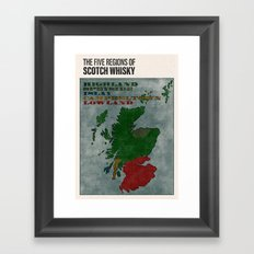 The Five Regions of Scotch Whisky (woodpress) Framed Art Print