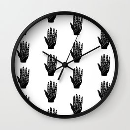 Linocut Hand palm reading minimal black and white palmistry fortune teller Wall Clock