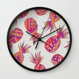 Geometric Pineapples Summer Print Wall Clock