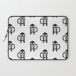 French Press linocut black and white pattern coffee art kitchen pattern art Laptop Sleeve
