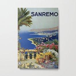 Vintage Sanremo Italian travel ad Metal Print