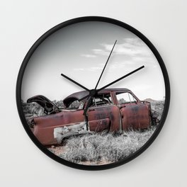 Rusting Remnants of Route 66 in Ghost Town Cuervo New Mexico Wall Clock