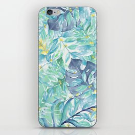 Modern teal green yellow watercolor tropical leaves iPhone Skin