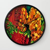 """cassia beck Wall Clocks featuring """"Cassia"""", Fine Art Print, Oil painting, flowers painting, yellow, floral wall decor, flowers art by Adriana Calcines"""