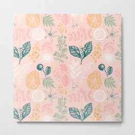 Modern Pink Green Yellow Hand Painted Exotic Floral Metal Print