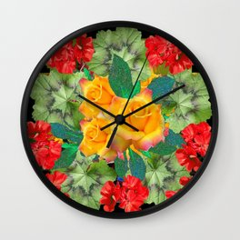 Yellow Roses Red Geraniums Green-Black Patters Wall Clock