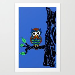 Mustachioed Owl Art Print