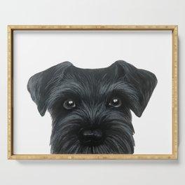 Black Schnauzer, Dog illustration original painting print Serving Tray