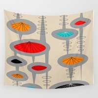 mid century Wall Tapestries featuring Mid-Century Atomic Space Age by Kippygirl